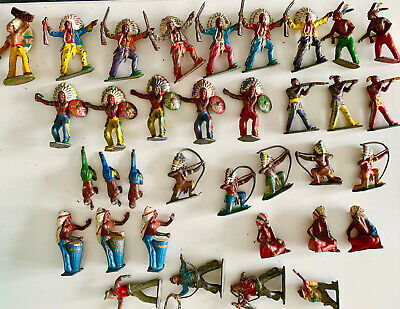 Vintage Metal Toy Cowboys And Indians  (46 Figures) • 10£