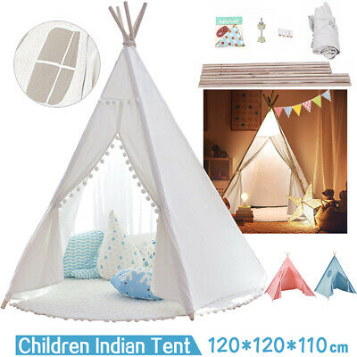 UK Large Canvas Children Indian Tent Teepee Wigwam Kid Indoor Outdoor Play House • 27.59£
