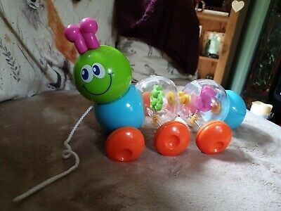 Wobbly Plastic Pull A Long Caterpillar Toy • 1.99£