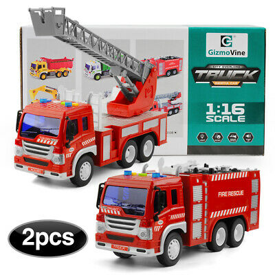 2 Pcs Kids Engineering Digger Excavator Car&Dump Truck Toy Cars With Light Sound • 15.99£