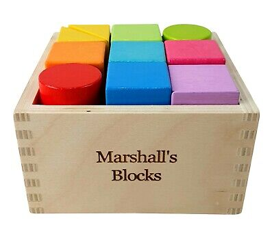 Personalised Engraved Wooden Rainbow Building Blocks Baby Toddler Gift Toy • 18.95£