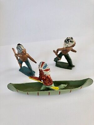 CRESCENT TOYS VINTAGE 1950s WILD WEST LEAD INDIANS ONE IN CANOE & Two Walking • 30£