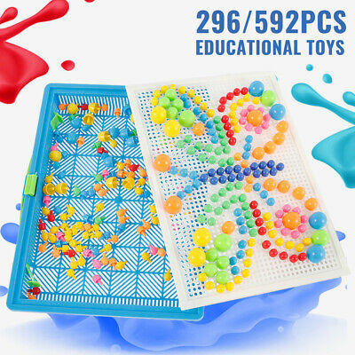 Children Kids Puzzle Peg Board With 592 Pegs Educational Toys Creative Gifts NEW • 8.69£
