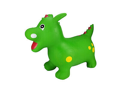 Green Dinosaur Dragon Space Hopper Inflatable Ride-On Bouncer Toy With Pump • 24.99£