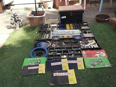 1970's VINTAGE MECCANO 100's  Of Pieces In A Wooden Box With 13 Lift Out Trays • 250£