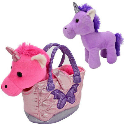 New Unicorn In A Hand Bag Plush Soft Cute Toy Kids Xmas Cuddly Gift Party Teddy • 4.99£