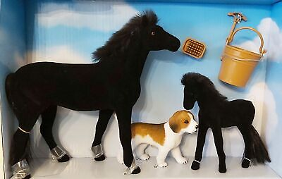 Horse Foal Dog & Accessories Set - 6 Items - Pony World 10123 NEW • 7.95£
