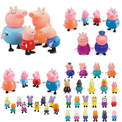 4/6/10/14/21/25PCS Peppa Pig Figures Toys Family Friends Set For Kids Xmas Gifts • 10.99£