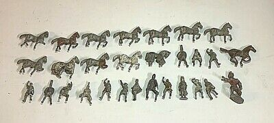 Collection Of 29 Lead Military Figures & Horses, Medieval Knights • 10£