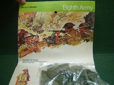 1960/70s Timpo Solid Plastic 8th Army On Original Card ~ HTF Green Type • 9.99£