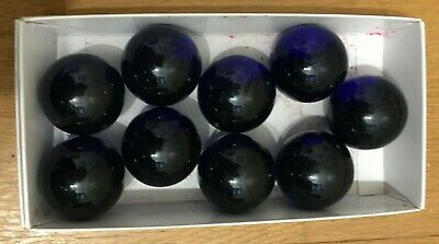 Nine Large Blue Glass Marbles • 10£