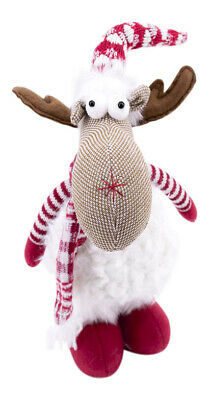 Christmas Festive Reindeer - Fluffy Teddy Traditional Colours Weighted Ornament  • 14.99£