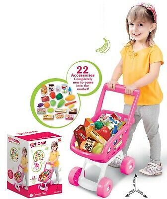Pink Toy Supermarket Shopping Trolley With Pretend Play Food & Accessories • 10.99£