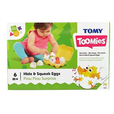 TOMY Toomies Hide And Squeak Eggs, Educational Shape Sorter (6m+) - NEW • 8.95£