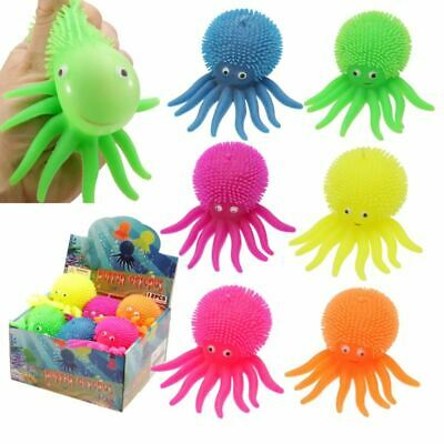 Colourful Squeezy Flashing Puff Pet Octopus, Gift/Present/Stocking Filler • 2.99£