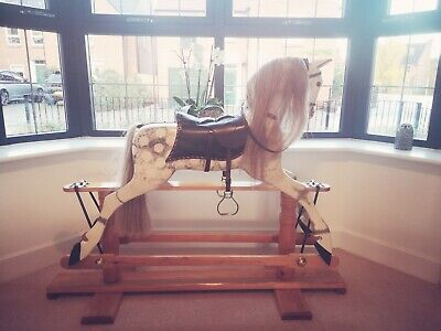 Antique Beautiful Grey And White Wooden Rocking Horse  • 750£