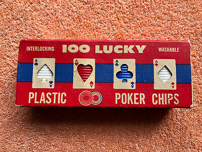 100 Lucky Plastic Poker Chips Vintage American • 8.99£