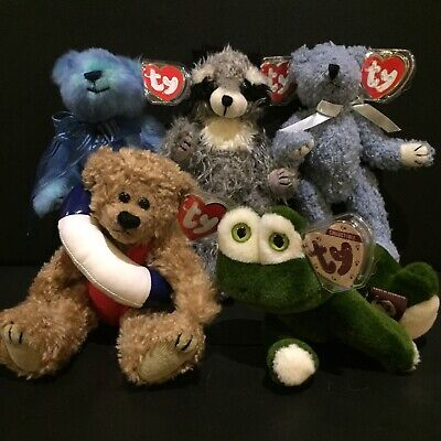 BEANIE BABIES ATTIC TREASURES COLLECTIBLE TY 5 LOT RETIRED 90s Plush Bears MINT • 10£