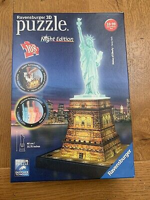 Statue Of Liberty Light Up Night Edition 3d Puzzle 108 Pc By Ravensburger - New! • 9.99£