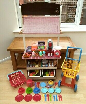 Wooden Play Shop / Market / Cafe With Lots Of Play Food And Accessories • 50£