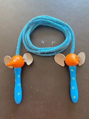 Kids Childrens Skipping Rope Wooden Handles Elephant Face Leather Ears   • 3.50£