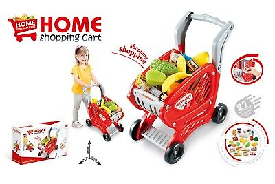 Red Toy Supermarket Shopping Trolley With Pretend Play Food & Accessories • 12.99£