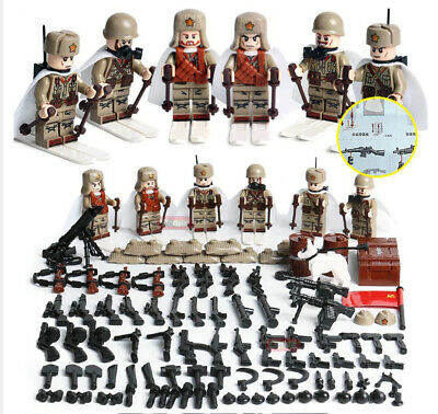 WWII Soviet Russian Soldiers Mini Figures Military Ski Russia WW2 Set Fit Lego • 16.99£