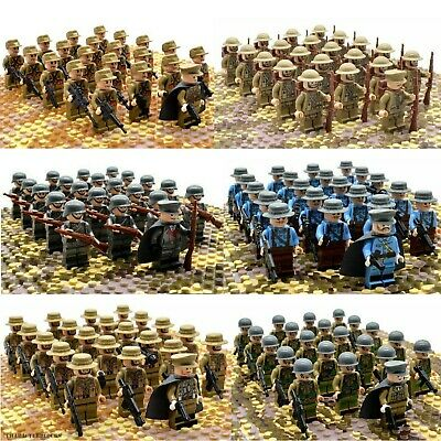 21pcs WWII Army Military Soldiers British Germany US Mini Figures Fit Lego Toy • 21.95£