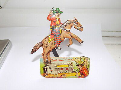 Vintage Tinplate Clicker Toy ''cowboy On Horseback'' Made In Germany • 14.99£