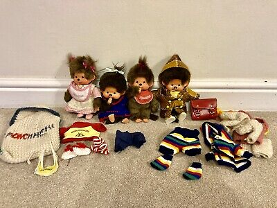Vintage Monchhichi X 4 With Clothes/booties Etc • 16£