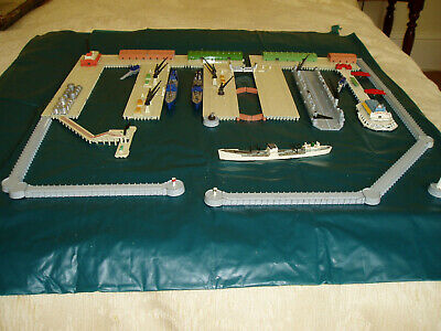 Vintage Triang Minic Ships (circ 1959-64) Complete Harbour Incl Dry Dock • 20.11£