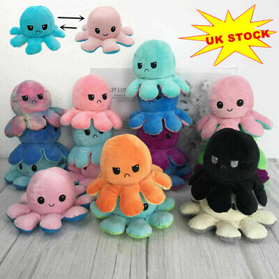 Cute Double-Sided Flip Reversible Octopus Plush Toys Funny Animals Doll Gift UK • 8.58£