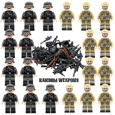 WWII GERMAN V BRITISH Soldiers + Weapons Mini Figures WW2 Military Set Fit Lego • 21.99£