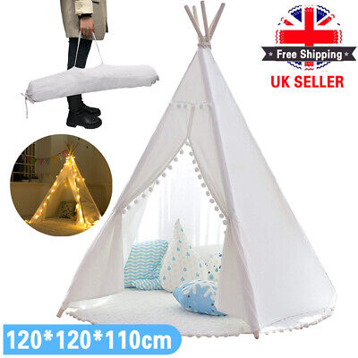 Large Canvas Children Indian Tent Teepee Kids Wigwam Indoor Outdoor Play House • 27.59£