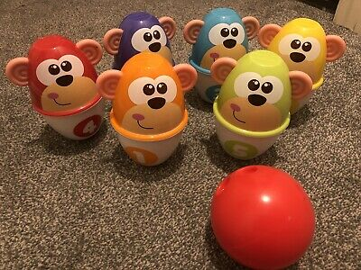 Chicco Monkey Skittles Toddler Indoor Bowling Toy • 6£