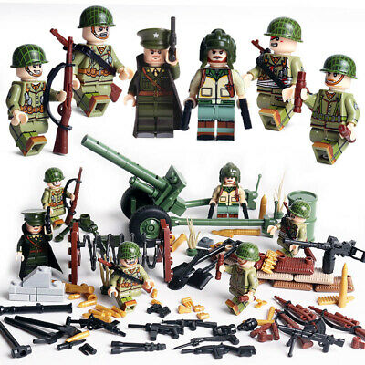 WWII US Soldiers Mini Figures Army Military USA American WW2 War Set Fit Lego • 16.99£