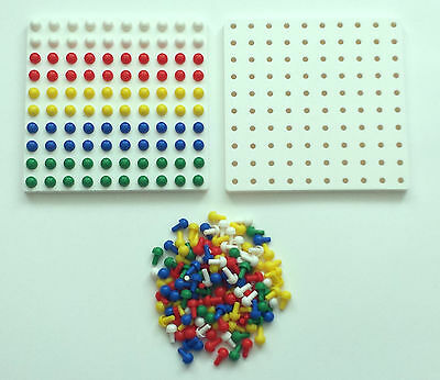 Square Peg Board  + 200 Pegs Maths Montessori 16cmx16cm 100 Holes Pegs SEN • 7.99£