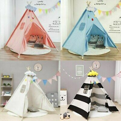 Large Canvas Children Kids Indian Tent Teepee Wigwam Indoor Outdoor Play House • 20.99£