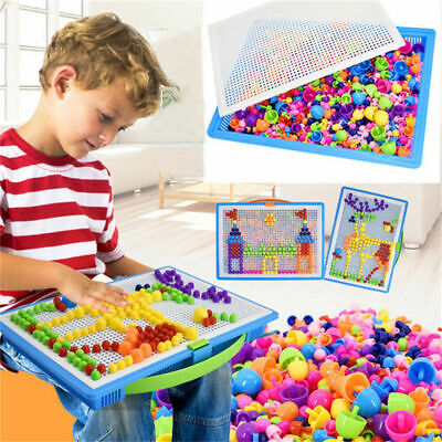 Children Kids Puzzle Peg Board 296 Pegs Mosaic Early Educational Toy Creative UK • 6.99£