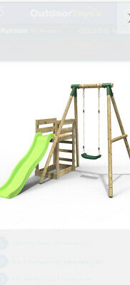Rebo Wooden Swing Set Plus Deck & Slide • 110£