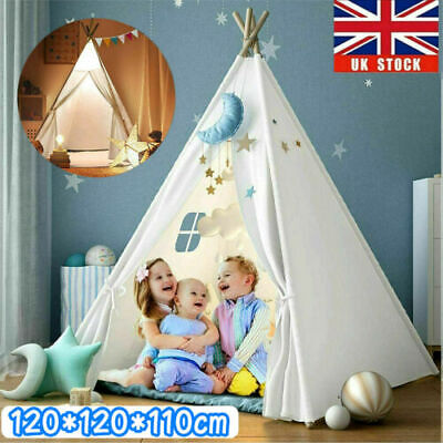 Large Canvas Children Kids Indian Tent Teepee Wigwam Indoor Outdoor Play House • 22.99£