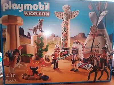 PLAYMOBIL 5247 WESTERN NATIVE AMERICAN CAMP WITH TOTEM POLE Brand New  • 45£