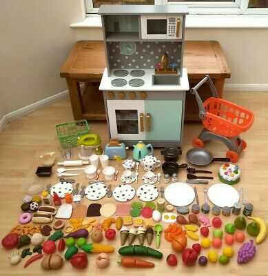 Wooden Toy Kitchen And Fantastic Collection Of Play Food And Accessories • 80£