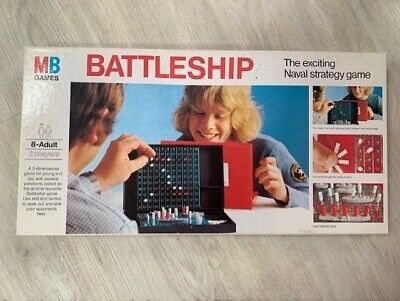 Vintage Battleship Family Naval Strategy Board Game - Boxed - MB Games - 1975 • 6.49£