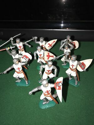 Vintage Plastic Crusader Knight Foot Soldiers X 10 Timpo Toys, Gt Britain. • 5.30£