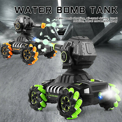 RC Tank Car 12Km/h,1500pc Water Bomb Armored Car 180° Rotating Shooting Toy Cars • 51.59£