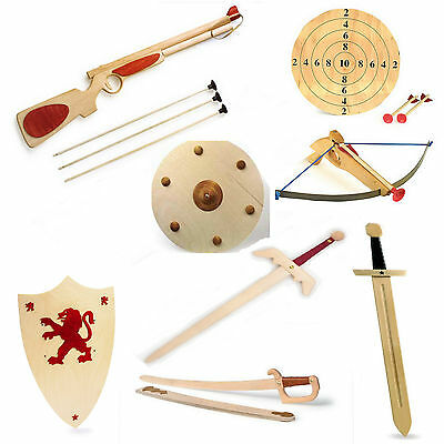 Childrens Wooden Sword Shield Guns Armour Battlefield Toy Fighting Boys Pretend  • 11.99£
