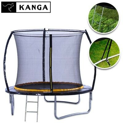 KANGA 8ft Premium Trampoline With Enclosure, Safety Net, Ladder & Anchor Kit • 229£