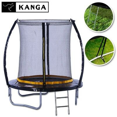 KANGA 6ft Outdoor Trampoline With Enclosure, Net, Ladder & FREE Anchor Kit • 199£