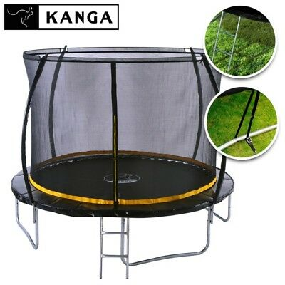 KANGA 10ft Outdoor Trampoline With Enclosure, Net, Ladder & Free Anchor Kit • 159.99£